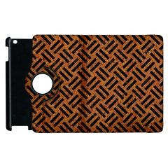 Woven2 Black Marble & Teal Leather Apple Ipad 2 Flip 360 Case by trendistuff