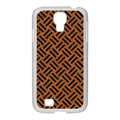 Woven2 Black Marble & Teal Leather Samsung Galaxy S4 I9500/ I9505 Case (white) by trendistuff