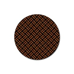 Woven2 Black Marble & Teal Leather (r) Rubber Coaster (round)  by trendistuff