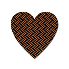 Woven2 Black Marble & Teal Leather (r) Heart Magnet by trendistuff