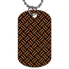 Woven2 Black Marble & Teal Leather (r) Dog Tag (two Sides) by trendistuff