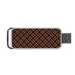 Woven2 Black Marble & Teal Leather (r) Portable Usb Flash (one Side) by trendistuff