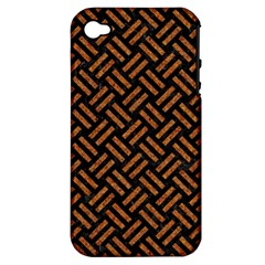Woven2 Black Marble & Teal Leather (r) Apple Iphone 4/4s Hardshell Case (pc+silicone) by trendistuff