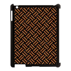 Woven2 Black Marble & Teal Leather (r) Apple Ipad 3/4 Case (black) by trendistuff