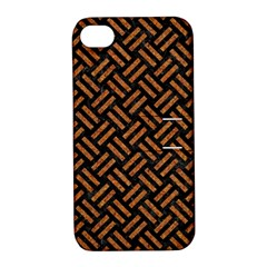 Woven2 Black Marble & Teal Leather (r) Apple Iphone 4/4s Hardshell Case With Stand by trendistuff