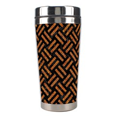 Woven2 Black Marble & Teal Leather (r) Stainless Steel Travel Tumblers by trendistuff