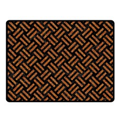 Woven2 Black Marble & Teal Leather (r) Double Sided Fleece Blanket (small)  by trendistuff