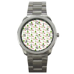 Christmas Pattern Sport Metal Watch by Valentinaart