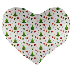 Christmas Pattern Large 19  Premium Heart Shape Cushions by Valentinaart