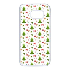 Christmas Pattern Samsung Galaxy S7 White Seamless Case by Valentinaart