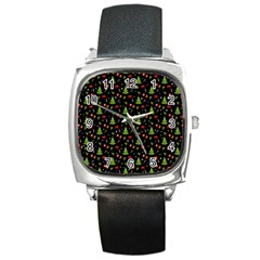 Christmas Pattern Square Metal Watch by Valentinaart
