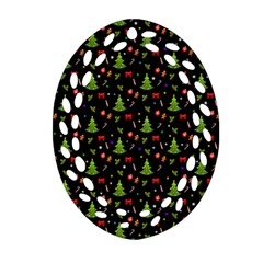 Christmas Pattern Oval Filigree Ornament (two Sides) by Valentinaart