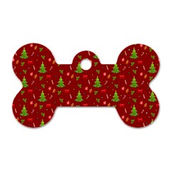 Christmas Pattern Dog Tag Bone (two Sides) by Valentinaart