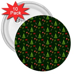 Christmas Pattern 3  Buttons (10 Pack)  by Valentinaart