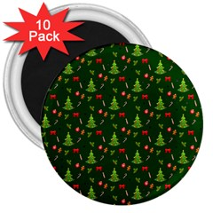 Christmas Pattern 3  Magnets (10 Pack)
