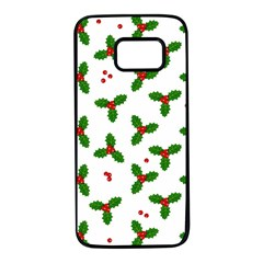 Christmas Pattern Samsung Galaxy S7 Black Seamless Case by Valentinaart