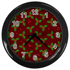 Christmas Pattern Wall Clocks (black) by Valentinaart