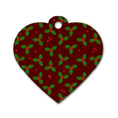 Christmas Pattern Dog Tag Heart (two Sides) by Valentinaart