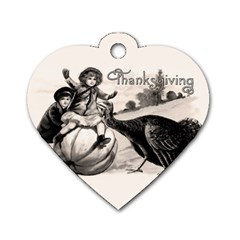 Vintage Thanksgiving Dog Tag Heart (one Side) by Valentinaart