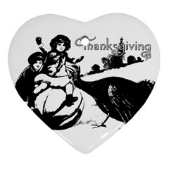 Vintage Thanksgiving Heart Ornament (two Sides) by Valentinaart