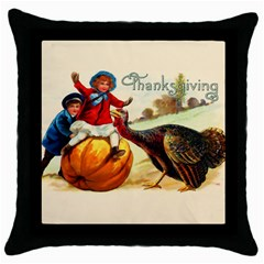 Vintage Thanksgiving Throw Pillow Case (black) by Valentinaart