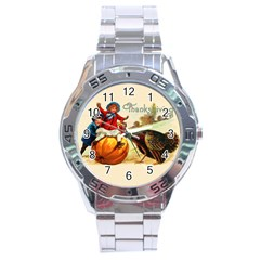 Vintage Thanksgiving Stainless Steel Analogue Watch by Valentinaart