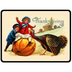 Vintage Thanksgiving Double Sided Fleece Blanket (large)  by Valentinaart
