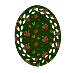 Thanksgiving Turkey  Oval Filigree Ornament (two Sides) by Valentinaart