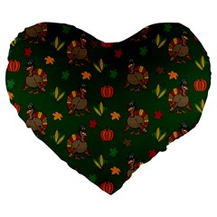 Thanksgiving Turkey  Large 19  Premium Flano Heart Shape Cushions