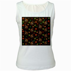 Thanksgiving Turkey  Women s White Tank Top