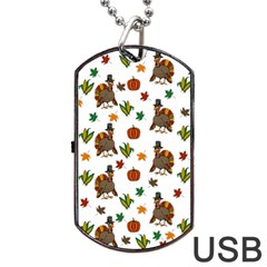 Thanksgiving Turkey  Dog Tag Usb Flash (one Side) by Valentinaart