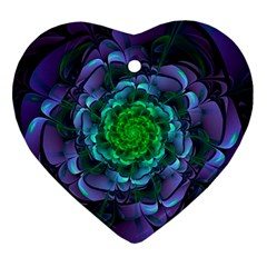 Beautiful Purple & Green Aeonium Arboreum Zwartkop Ornament (heart) by jayaprime