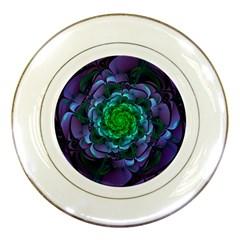 Beautiful Purple & Green Aeonium Arboreum Zwartkop Porcelain Plates by jayaprime