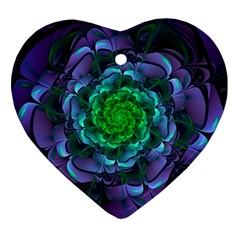 Beautiful Purple & Green Aeonium Arboreum Zwartkop Heart Ornament (two Sides) by jayaprime