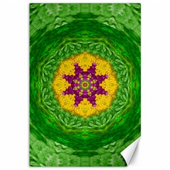 Feathers In The Sunshine Mandala Canvas 12  X 18   by pepitasart