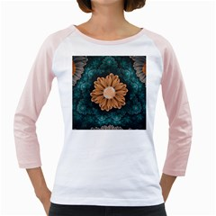 Beautiful Paradise Chrysanthemum Of Orange And Aqua Girly Raglans