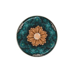 Beautiful Paradise Chrysanthemum Of Orange And Aqua Hat Clip Ball Marker (4 Pack) by jayaprime