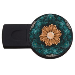 Beautiful Paradise Chrysanthemum Of Orange And Aqua Usb Flash Drive Round (4 Gb) by jayaprime