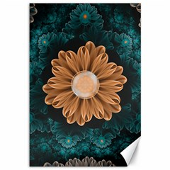 Beautiful Paradise Chrysanthemum Of Orange And Aqua Canvas 12  X 18   by jayaprime