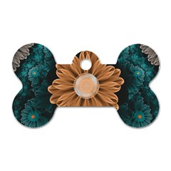 Beautiful Paradise Chrysanthemum Of Orange And Aqua Dog Tag Bone (one Side) by jayaprime