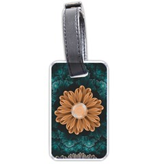 Beautiful Paradise Chrysanthemum Of Orange And Aqua Luggage Tags (one Side)  by jayaprime