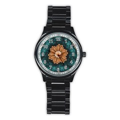 Beautiful Paradise Chrysanthemum Of Orange And Aqua Stainless Steel Round Watch by jayaprime