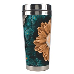 Beautiful Paradise Chrysanthemum Of Orange And Aqua Stainless Steel Travel Tumblers by jayaprime