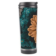Beautiful Paradise Chrysanthemum Of Orange And Aqua Travel Tumbler by jayaprime