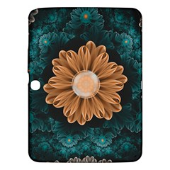 Beautiful Paradise Chrysanthemum Of Orange And Aqua Samsung Galaxy Tab 3 (10 1 ) P5200 Hardshell Case  by jayaprime
