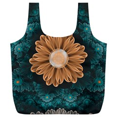 Beautiful Paradise Chrysanthemum Of Orange And Aqua Full Print Recycle Bags (l)  by jayaprime