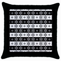 Snowflakes   Christmas Pattern Throw Pillow Case (black) by Valentinaart