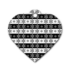 Snowflakes   Christmas Pattern Dog Tag Heart (two Sides) by Valentinaart