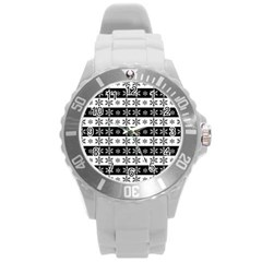 Snowflakes   Christmas Pattern Round Plastic Sport Watch (l) by Valentinaart