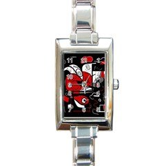 Red Black And White Abstraction Rectangle Italian Charm Watch by Valentinaart